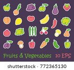 stylized images of fruit and...   Shutterstock .eps vector #772365130
