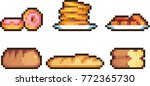 set of food icons in pixel style | Shutterstock .eps vector #772365730