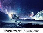fantasy image with spaceman... | Shutterstock . vector #772368700