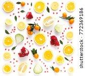 creative flat layout of fruit ...   Shutterstock . vector #772369186