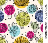 cute cactus. colorful seamless... | Shutterstock .eps vector #772373026