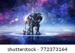 astronaut starting to run.... | Shutterstock . vector #772373164