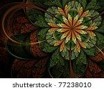 Green Leafy Fractal Flower ...