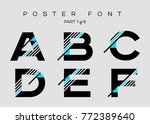 vector techno font with digital ... | Shutterstock .eps vector #772389640