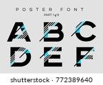 vector techno font with digital ... | Shutterstock .eps vector #772389640