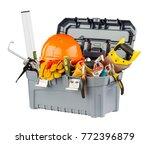 Toolbox with orange helmet and...