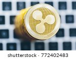 stack of ripple coins with a... | Shutterstock . vector #772402483