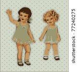 vintage cute little girls.... | Shutterstock .eps vector #77240275