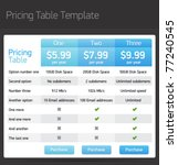 vector pricing table template | Shutterstock .eps vector #77240545