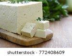 soy cheese tofu   vegetarian... | Shutterstock . vector #772408609