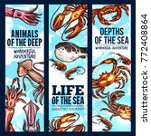 seafood sketch banner set of...   Shutterstock .eps vector #772408864