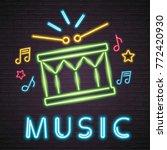 snare drum neon light glowing... | Shutterstock .eps vector #772420930