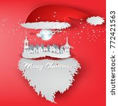 paper art of merry christmas... | Shutterstock .eps vector #772421563