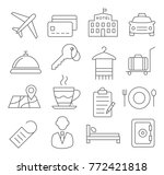hotel line icons on white... | Shutterstock .eps vector #772421818