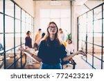 attractive female in eyeglasses ... | Shutterstock . vector #772423219