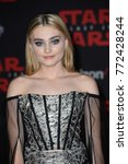 "Small photo of LOS ANGELES, CA - December 9, 2017: Meg Donnelly at the world premiere for ""Star Wars: The Last Jedi"" at the Shrine Auditorium."