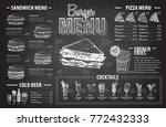 vintage chalk drawing burger... | Shutterstock .eps vector #772432333