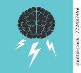 brain and lightnings.... | Shutterstock . vector #772437496