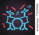 drum music note neon light... | Shutterstock .eps vector #772439836