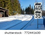 the snowy railway station in... | Shutterstock . vector #772441630