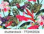 tropical seamless vector... | Shutterstock .eps vector #772442026