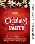 merry christmas party and gift... | Shutterstock .eps vector #772442050