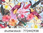 tropical seamless vector... | Shutterstock .eps vector #772442938
