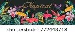 tropical flowers  hummingbirds  ... | Shutterstock .eps vector #772443718
