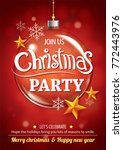 merry christmas party and glass ... | Shutterstock .eps vector #772443976