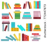 set of stacks of books. bright... | Shutterstock .eps vector #772447873