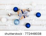 christmas gift box with ribbon... | Shutterstock . vector #772448038
