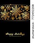 sparkling golden snowflakes ... | Shutterstock .eps vector #772452208