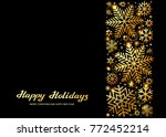 sparkling golden snowflakes ... | Shutterstock .eps vector #772452214