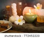 spa massage items aroma oil... | Shutterstock . vector #772452223