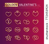 set of gold valentine's day... | Shutterstock .eps vector #772453924