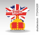 london map with england flag... | Shutterstock .eps vector #772454209