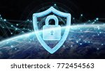 cyber security  and connections ... | Shutterstock . vector #772454563