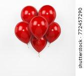 set of six 6 red helium... | Shutterstock . vector #772457290