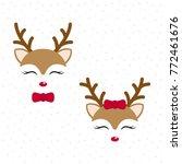 cute reindeer. baby deer. merry ... | Shutterstock .eps vector #772461676