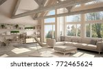 living room of luxury eco house ... | Shutterstock . vector #772465624