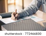 businessman writing make note... | Shutterstock . vector #772466830