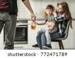 man holding bottle of alcohol... | Shutterstock . vector #772471789