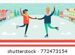 man and woman ice skating... | Shutterstock .eps vector #772473154