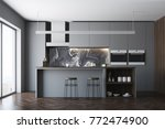 dark gray kitchen interior with ... | Shutterstock . vector #772474900