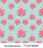 seamless pattern with pink rose ... | Shutterstock .eps vector #772478089