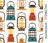 vintage camping lantern pattern ... | Shutterstock .eps vector #772481764