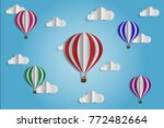 design is paper cut  balloon in ... | Shutterstock .eps vector #772482664