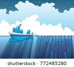 sea fishing trawler painted on... | Shutterstock .eps vector #772485280