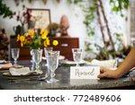 restaurant table setting...   Shutterstock . vector #772489606