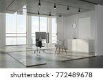 concrete ceiling office corner... | Shutterstock . vector #772489678